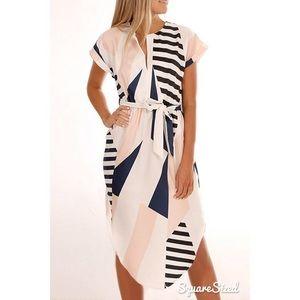 NEW! V-Neck Geometric Print Belted Midi Dress